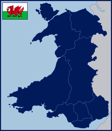 Blank Map and Flag of Wales Illustration