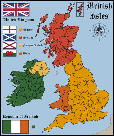 uk map: Map and Flags of British Isles Illustration