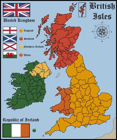 Mapa y banderas de las islas británicas