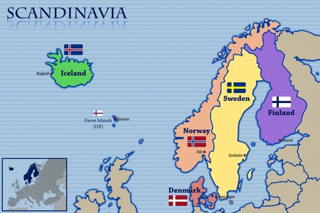 Location, Map and Flags of Scandinavia