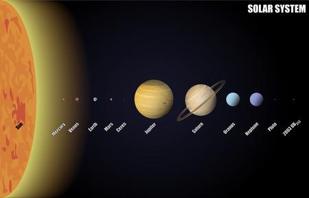 난쟁이 행성과 태양계의 다이어그램 일러스트