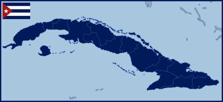 havana cuba: Blank Map of Cuba with Flag Illustration