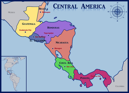 central america: Location and Map of the Countries of Central America