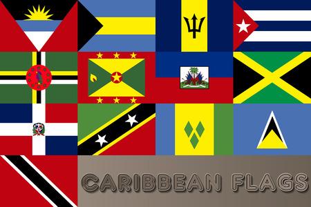 caribbean: Caribbean Countries Flags