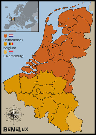 benelux: Location, Flags and Map of Benelux Illustration