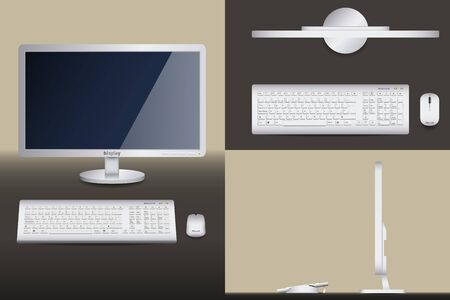 icono computadora: Diferentes vistas de una PC de escritorio