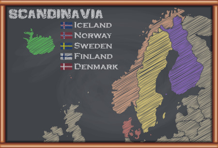 scandinavia: Blackboard with the Map of Scandinavia