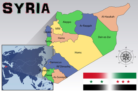Syria: Map, Flag and Location of Syria Illustration