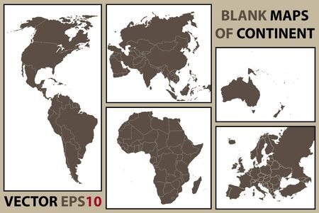 Continents And Oceans Of The World Royalty Free Cliparts Vectors - Blank map of continental us