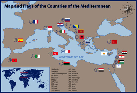 mediterranean countries: Map and Flags of the Countries of the Mediterranean Illustration