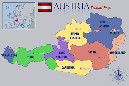 austria: Political Map of Austria