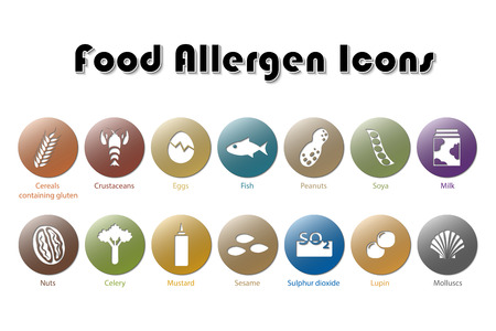 food allergy: Food Allergen Icons