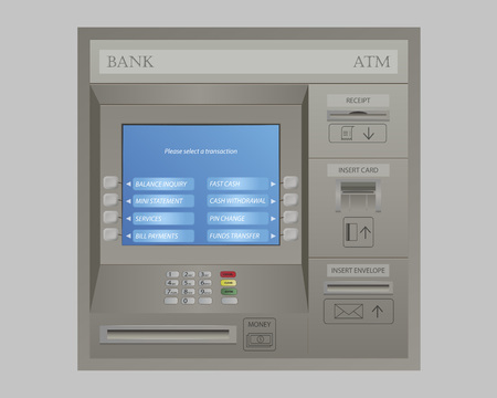 automated teller: Automated Teller Machine of Bank Illustration