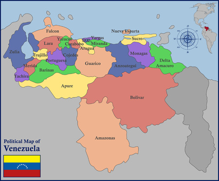 mapa de venezuela: Mapa político de Venezuela