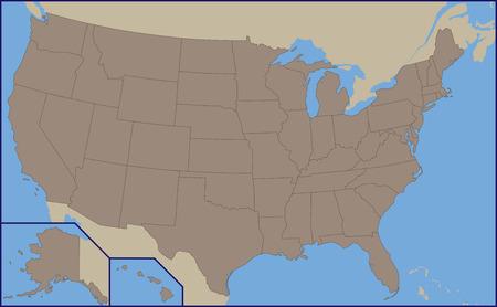 Empty Political Map of USA 向量圖像