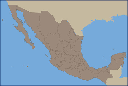 Empty Political Map of Mexico Stock fotó - 57652990