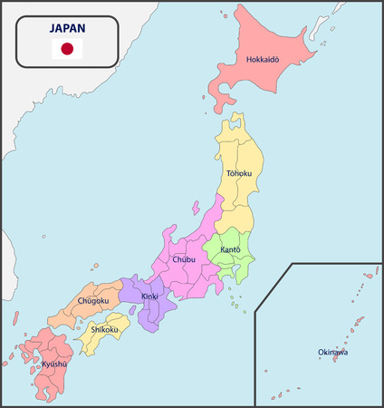 Political Map of Japan with Names Illustration