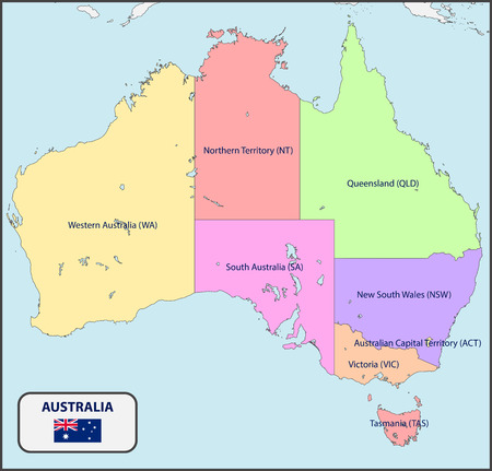 Political Map Of Australia With Names Royalty Free Cliparts, Vectors ...
