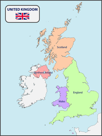 Political Map of UK with Names
