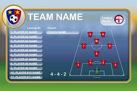 soccer coach: Football Lineup Eleven Illustration