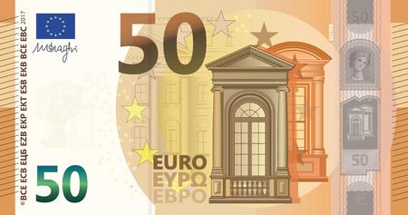 New 50 Euros Bill  イラスト・ベクター素材
