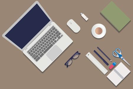 Ordinateur de bureau avec objets vu de dessus Banque d'images - 77779501