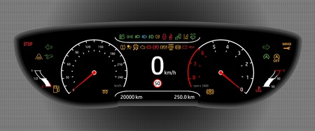 Digital Car Dashboard vector illustration.