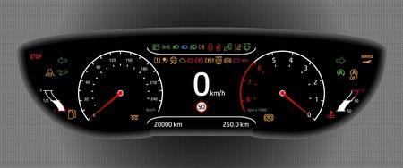 Digitale auto dashboard vector illustratie. Stock Illustratie