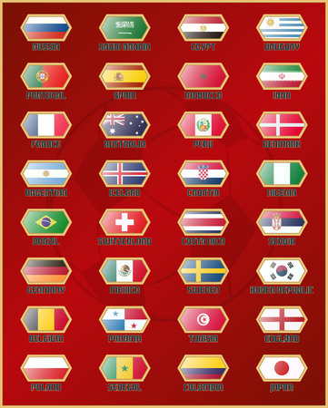 Flags of national soccer teams icon.