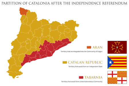 Possible Map and Flags of Catalonia after the Referendum