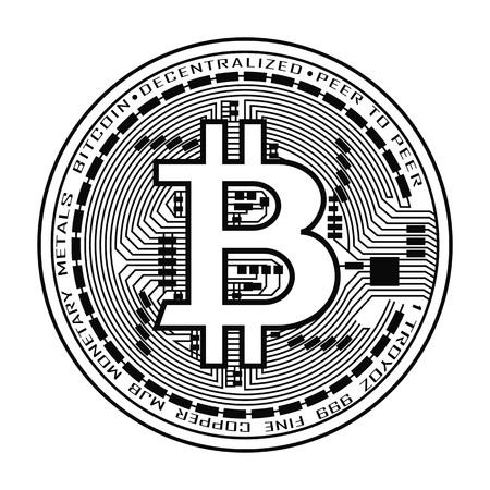 흑인과 백인 Bitcoin 통화의 실루엣