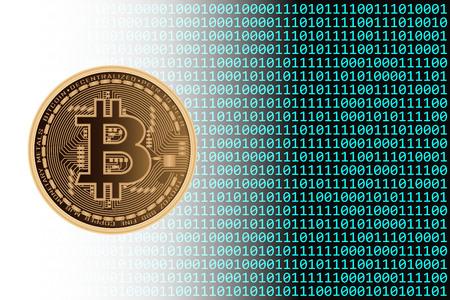 이진 배경이있는 Bitcoin 통화