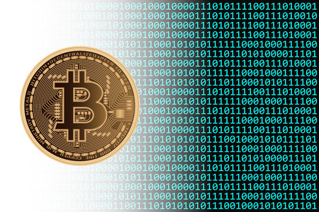 Bitcoin Currency with Binary Background