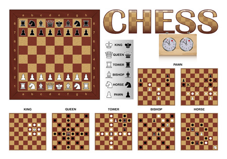 Board and Movements of Chess Illustration
