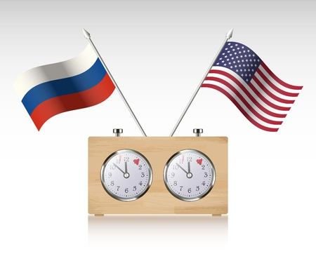 Chess Clock with Flags Illustration