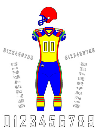 American football uniforms template design illustration.