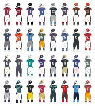 American Football generieke kleuren jerseys Stock Illustratie