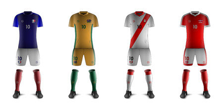 Generic Kits of Soccer National Teams Illustration
