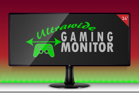 An ultra wide gaming monitor Stock Illustratie