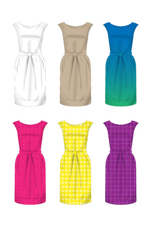 Dress Pattern with Different Models Stock Illustratie