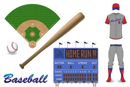 Baseball Elements Illustration