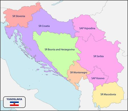 Political Map of Yugoslavia with Names