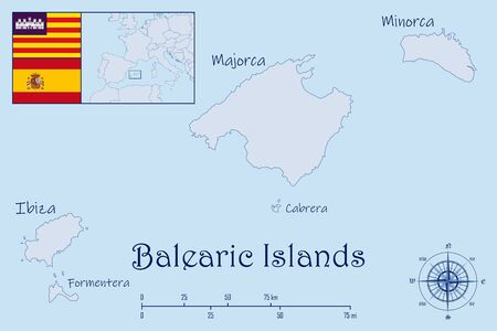 Map of Balearic Islands with Flags