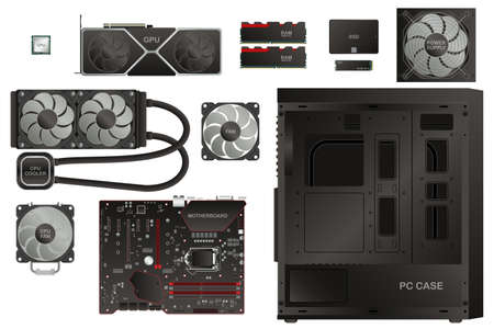 PC Gaming Components Illustration