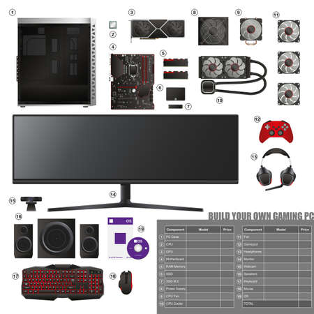 Build your own Gaming PC 向量圖像