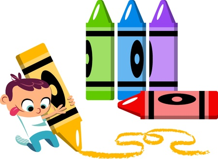 scribbling: An illustration of a cute little boy drawing with crayons