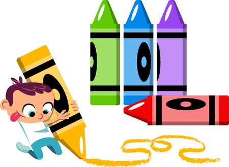 Een illustratie van een schattige kleine jongen tekening met kleurpotloden