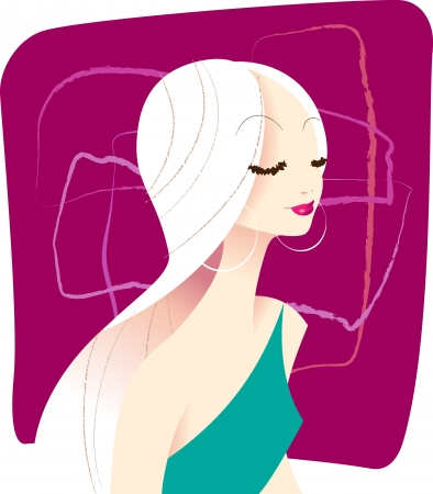 An illustration of a glamorous young woman