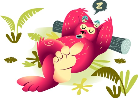 A vector illustration of a fuzzy monster taking a nap Çizim