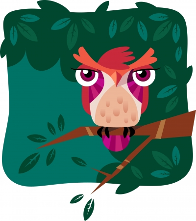 A vector illustration of a cute owl perched on a tree branch